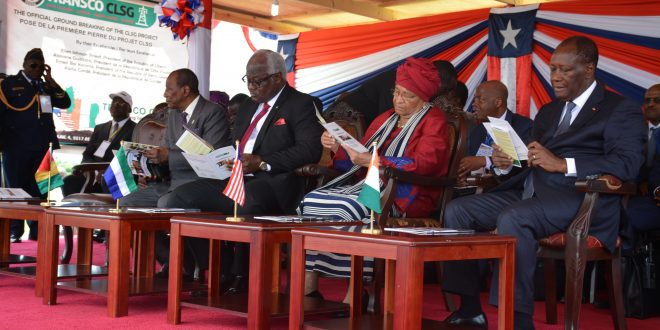Pres. Sirleaf with her counterparts at the ceremony Sunday