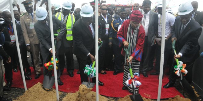 Pres. Johnson Sirleaf and her counterparts perform the ground breaking Sunday